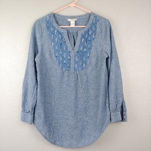 Sundance Cotton Linen Chambrey Shirt Tuft Accents